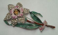 1930's Pot Metal Enamel Rhinestone Flower Brooch