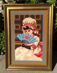 1975 Kate Greenaway Framed Needlepoint AMY Victorian Girl Black Hair Bonnet Fan #Unbranded
