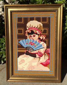 1975 Kate Greenaway Framed Needlepoint AMY Victorian Girl Black Hair Bonnet Fan #Unbranded