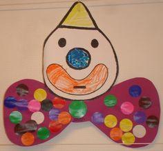 Voor de kinderen die net op school zijn. De kinderen krijgen onderstaande mal (wederom binnenkort online) en kleuren deze. Ook vullen zij de neus op met gekleurd papier. De strik mogen ze vrij versieren met plakkers of met verf.