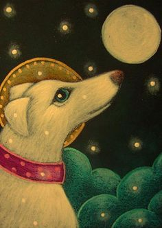Cyra R. Cancel | HOLIDAY WHITE GREYHOUND ANGEL DOG WITH HALO 1ST SNOW