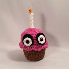 So I've become obsessed with a computer game called Five Nights at Freddy's and was shocked when I discovered there wasn't a cute pattern for the cupcake, so I made one! I LOVE HIM TO DEATH! (pun unintended - if you know the game)