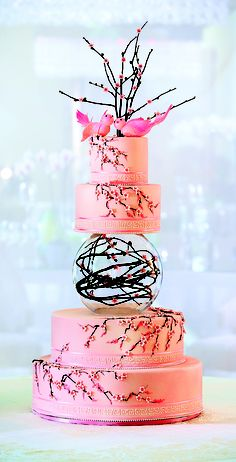 cherry blossom wedding cake (White fondant though would really make the blossoms POP) Gorgeous Cakes, Pretty Cakes, Cute Cakes, Amazing Cakes, Crazy Cakes, Fancy Cakes, Pink Cakes, Unique Cakes, Creative Cakes