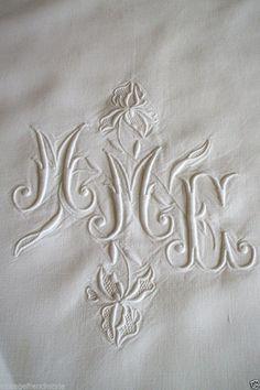 FRENCH LINEN SHEET WHITE LINEN STITCHED MONOGRAM ANTIQUE FRENCH WHITE LINEN