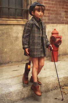 Little violinist in tweed