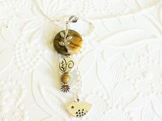 Golden Brown Jasper Pendant, Silver Plated Chain, Beaded Jewelry, Nature Lover Jewelry, Gardener Jewelry, Bird Jewelry, Beaded Necklace by uBuNEEKBoutique on Etsy