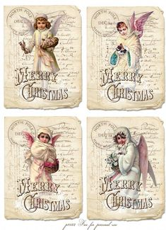 Vintage Christmas cards Digital collage Free for personal use Images Vintage, Vintage Christmas Images, Vintage Tags, Christmas Pictures, Vintage Paper, Vintage Postcards, Victorian Christmas, Christmas Paper, Christmas Angels