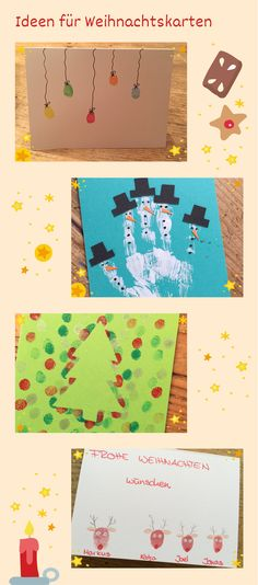 DIY-Anleitung: Weihnachtskarten mit Fingerfarben basteln DIY instructions: make Christmas cards with finger paints Christmas Mail, Christmas Cards To Make, Xmas Cards, Winter Christmas, Diy Cards, Christmas Crafts, Winter Crafts For Kids, Crafts For Teens, Diy For Kids