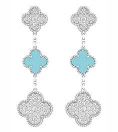 Van Cleef & Arpels orecchini Alhambra brillanti turchese http://www.molu.it/?p=5