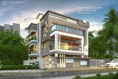 Building Elevation, House Elevation, Front Elevation Designs, Sims, Modern House Design, House Painting, Exterior Design, Modern Architecture, Beautiful Homes
