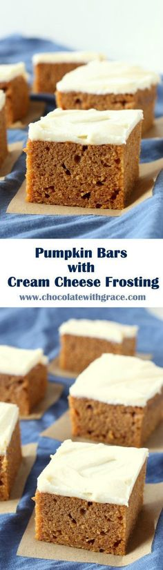 Classic pumpkin bars that are super soft and moist and spread with a thick layer of tangy cream cheese frosting. (pumpkin spice cookies with cream cheese frosting) Fall Desserts, No Bake Desserts, Just Desserts, Delicious Desserts, Yummy Food, Pumpkin Bars, Pumpkin Dessert, Pumpkin Spice, Pumpkin Pumpkin