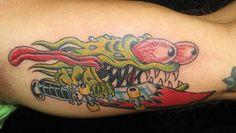 Monster Skateboarder Tattoo by Jack Gribble, Northeast Tattoo, Minneapolis, MN, Twin Cities, Traditional Tattoo, Tattoo Artist