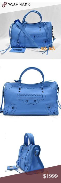 NEW Balenciaga Blue Calfskin Small City Bag This bag doesn t come with care  card 5d4f402388d4f