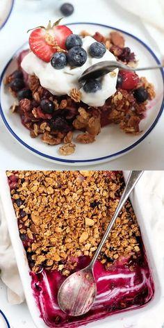 Healthy Baked Snacks, Healthy Sweets, Healthy Baking, Cheesy Recipes, Vegetarian Recipes Easy, Snack Recipes, Cooking Recipes, Berry Crumble, Crumble Topping