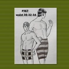"""Vintage Sew Knit Stretch mens swim trunks pattern #167  waist sizes 30,32,34""""- 70's  new old stock- never opened 1971 by BarbaraSculati on Etsy"""