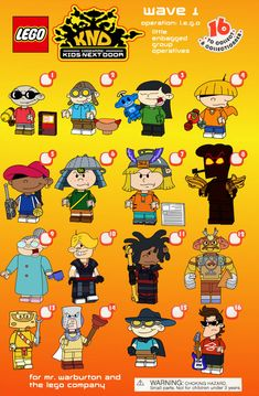 Something I've always wanted to do with the KND, turn them into Lego Minifigures. If you guys want me to do another wave. Lego Codename Kids Next Door CMF Wave 1 Draft