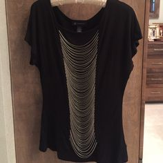 Black tee with chain detail Black tee with silver chain details INC International Concepts Tops Tees - Short Sleeve