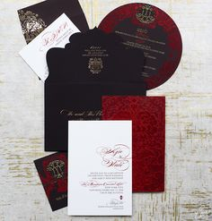 Black and red wedding invite. To give you an idea, a Ceci Couture Invitation suite starts at $2,300 for 100 suites (suites include 1 color flat printing on your invitation, mailer envelope, reply card and reply envelope).    I WISH!