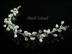 Stylish White Freshwater Pearl Hair Vine: www.pearlisland.co.uk
