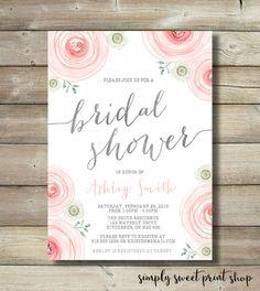 Bridal Shower Invitation Watercolor Water by SimplySweetPrintShop
