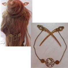 Hair Jewelry, Photo Jewelry, Whimsical Hair, Sugar Skull Decor, Celtic Hair, Celtic Tree Of Life, Hair Sticks, Gold Hair, Hair Pins