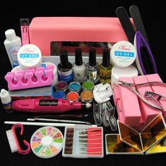 Pro 9W UV Nail Curing Lamp Mini Drill Powder UV Top Coat Gel French Tips Kit Set #Unbranded