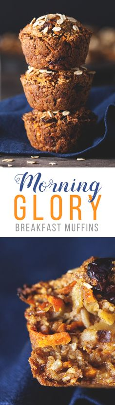 [Vegan & Gluten Free] Delicious and satisfying morning glory breakfast muffins packed with apple, cinnamon, carrot, walnut, cranberries and shredded coconut. These muffins are a quick and healthy breakfast alternative, naturally sweetened with no added sugar! The perfect weekday breakfast to eat on the go.