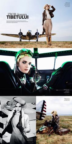 Angelika Kocheva as Amelia Earhart, shot by Giuliano Bekor for Marie Claire Romania.