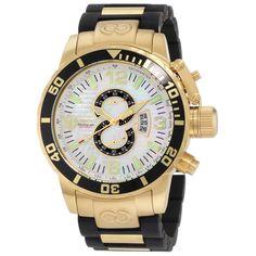 Invicta 4899 Men's Corduba White MOP Dial Gold Plated Steel Rubber Strap Chronograph Dive Watch,