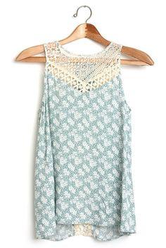 d4d552ec5db Floral print mint a-line tank top with open back. Cute Preppy OutfitsOpen  BacksSummer ...