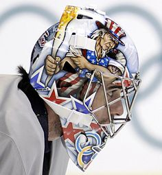 Ryan Miller Olympic Goalie mask. USA. USA. USA.