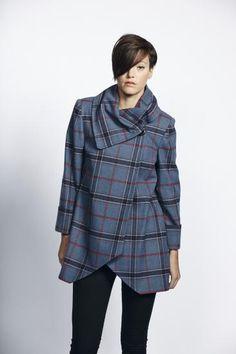 £65 Liquorish Grey Check Coat With Oversized Collar With Side Fastening | Liquorish Clothing www.liquorishonline.com