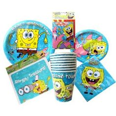 SpongeBob SquarePants Theme Birthday Party or Pool Party Package ~ Invitations, Thank-You Postcards, Dinner Plates, Dessert Plates, Napkins, Cups, and Loot Bags (Treat Sacks) ~ Serves 8 Guests (Toy)  http://savorypins.com/amz.php?p=B007TKHEG2  B007TKHEG2