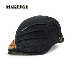 2017 new cotton stitching cap and men and women retro fashion hat   anti-shade hat male men's bone masculino berets