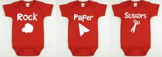 Rock paper scissors triplets onesies set of 3. baby bodysuit perfect for triplets ********************************* Product ********************************** Custom infant onesie or toddler shirt  ************************Sizing *********************** Bodysuits: Short Sleeve 0-3 months 3-6 months 6-12 months 2T - Shirt 3T - Shirt 4T - Shirt 5T - Shirt  Fabric:100% Ring spun Combed Interlock Cotton Fabric Weight:6.1 OZ (210 GSM) Stitching: Double-needle Hem Sleeves Shoulders: Enveloped Lap…