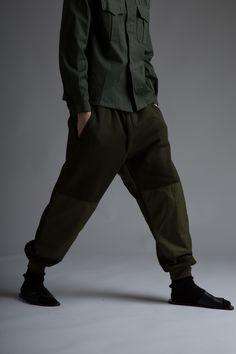 Vintage Military Parka, Men's Shirt and Sweatpants, Issey Miyake Bag. Designer Clothing Dark Minimal Street Style Fashion