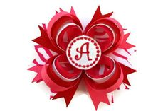 Personalized Valentines Day Hair Bow Valentines Hairbow in red pink zebra on Etsy, $9.99
