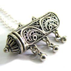 925 Sterling Silver Filigree Chandelier Amulet Case by adiaart,