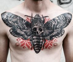 Moth with skull tattoo by Timur Lysenko