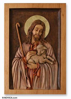 Cedar relief panel, 'The Good Shepherd' by NOVICA