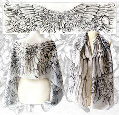 Silk scarf Angelic Wings hand drawn by #minkulul