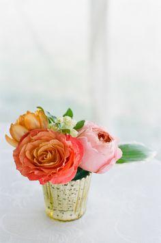 mini floral arrangement // photo by Stacey Hedman, floral design by Petal Floral Design // View more: http://ruffledblog.com/romantic-marthas-vineyard-wedding/