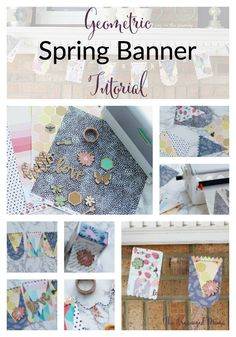 Geometric Spring Banner Tutorial! The easiest way to add color to your spring mantel by using Xyron creative station, and OneCanoeTwo and American Craft collab paper pack!