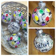 Preschool Christmas gifts: thumbprint lights on a paper/glitter-filled ornament!