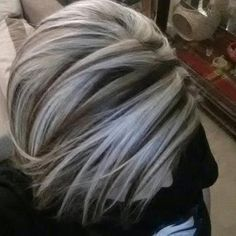 Gallery for> Brown Hair With Chunky Platinum Highlights Pinner Amazing Silver Highlights! Image S Love Hair, Great Hair, Amazing Hair, Hair Highlights And Lowlights, White Highlights, Grey Hair With Brown Lowlights, Brown Hair Platinum Highlights, Heavy Blonde Highlights, Foil Highlights