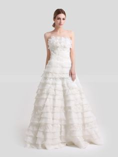 Ivory Strapless Ruffled Organza and Satin A Line Wedding Dress with Sequined Applique