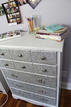 DIY Glitter Dresser. - 31 Sparkling DIY Decoration Ideas To Jazz Up Your Life