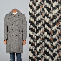 Medium 1970s Tweed Winter Coat. Mens overcoat, double breasted. Mens style, mens fashion, vintage menswear, vintage mens style, vintage fashion