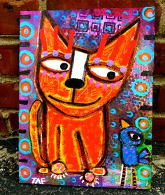 """Tell Me More"" an original acrylic/collage on wood Art by Tracey Ann Finley Funny Paintings, Cardboard Art, Cat Colors, Collaborative Art, Happy Art, Assemblage Art, Elementary Art, Love Art, Cat Art"