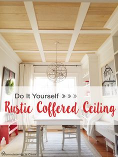 Diy Rustic Coffered Ceiling Diy Rustic Coffered Ceiling How To Install A Flat Coffered Ceiling Detailed Instructions Love This Diy Rustic Coffered Ceiling Complete Instructions Home Ceiling, Ceiling Decor, Ceiling Design, Low Ceiling Basement, Porch Ceiling, Ceiling Ideas, Ceiling Fan, Home Renovation, Home Remodeling